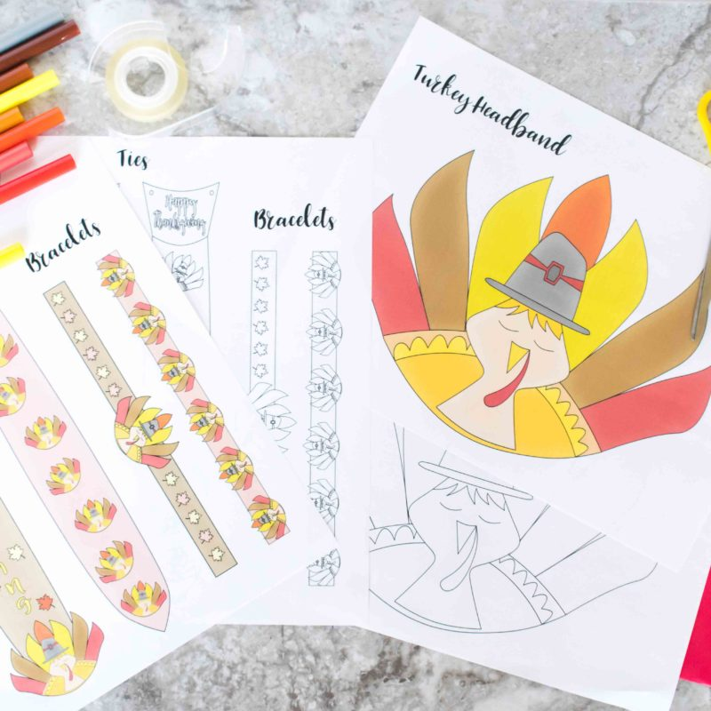 Free Printable Turkey Headband, Ties And Bracelets Craft