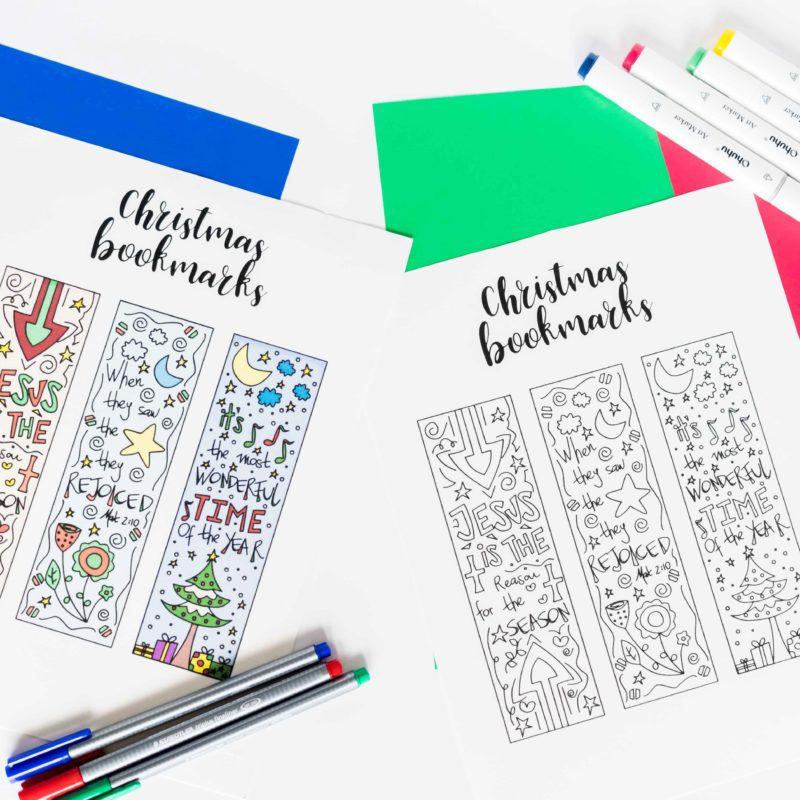 Coloring Christmas Bookmarks Free Printable
