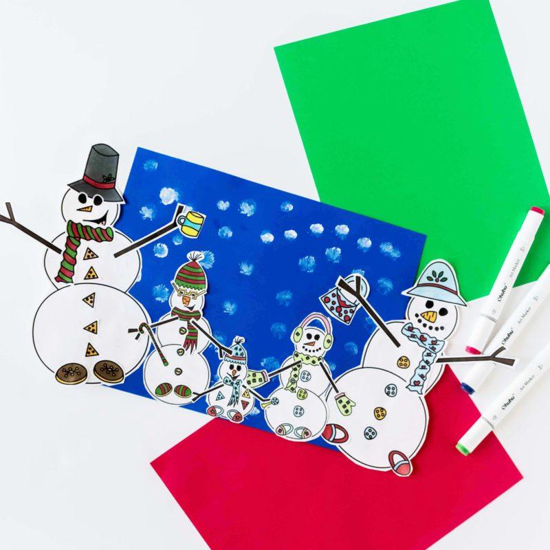 Build The Snowman's Family Free Printable