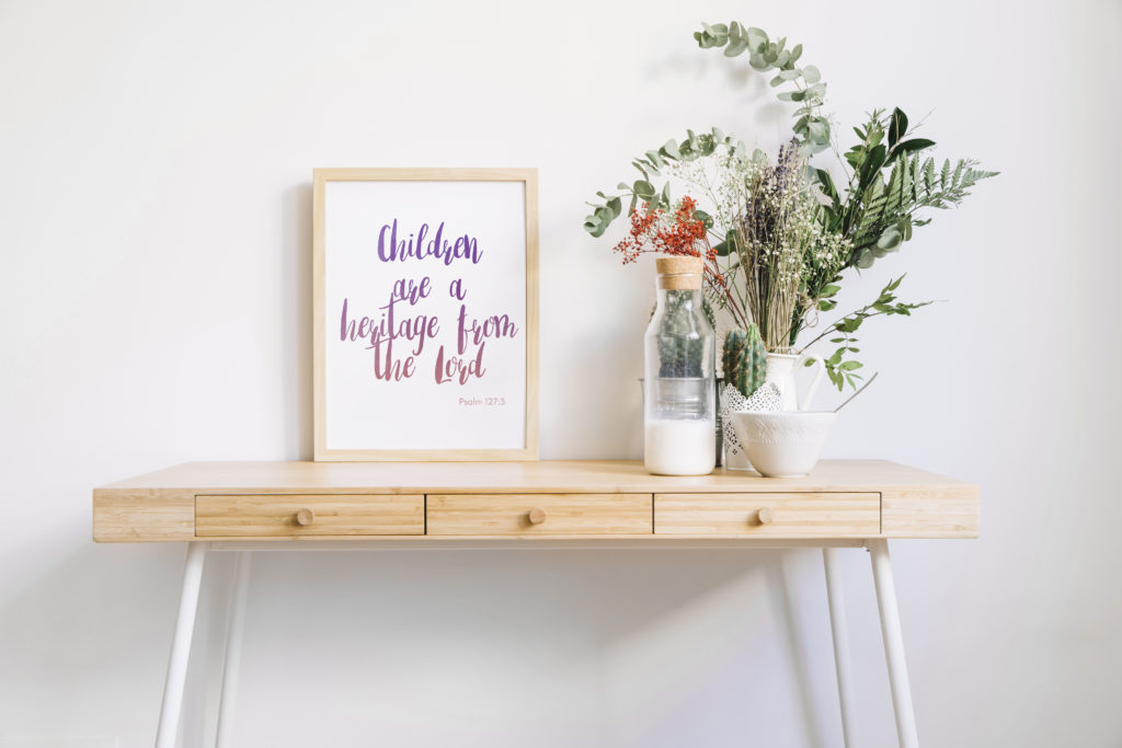 Do you have a precious heritage from GOD?I do, that's why I designed this extremely cute and stylish watercolorChildren are a heritage from the Lord Free Wall Art! Display it in your home, or why not give it to someone that has or is about to have children!