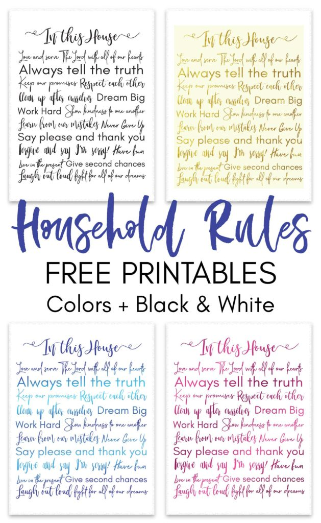 The Household Rules Free Printable is all you will ever need to set a quick reminder, to all of the members of the family, not only about rules and expectations but also about how to have fun and learn new lessons in life!