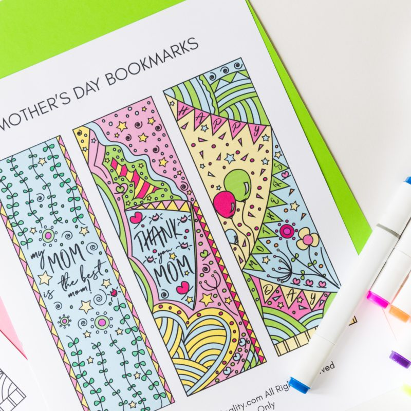 Coloring Mother's Day Bookmarks Free Printable