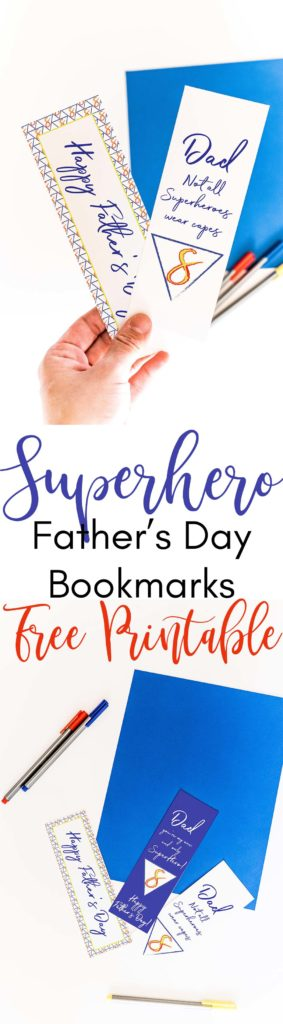 Superhero Father's Day Bookmarks Free Printable #fathersday #bookmarks #superherobookmarks