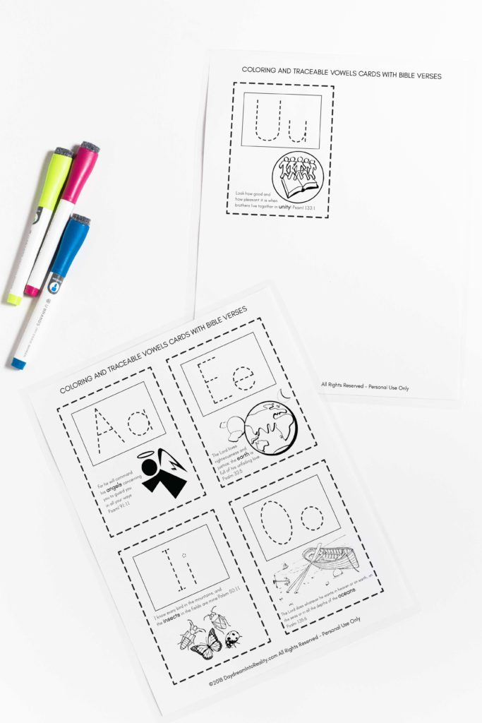 These Free Traceable Vowels Cards with Bible Verses are so cute and one of a kind! Definitely your kids are going to love them!