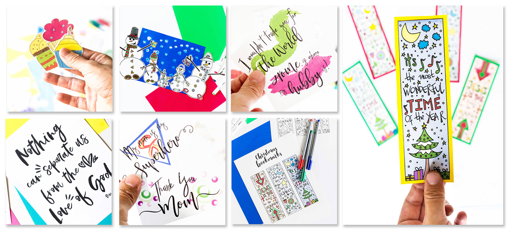 Inside of the holiday printables library example. Different thumbnails with colors and activities for children, family, etc