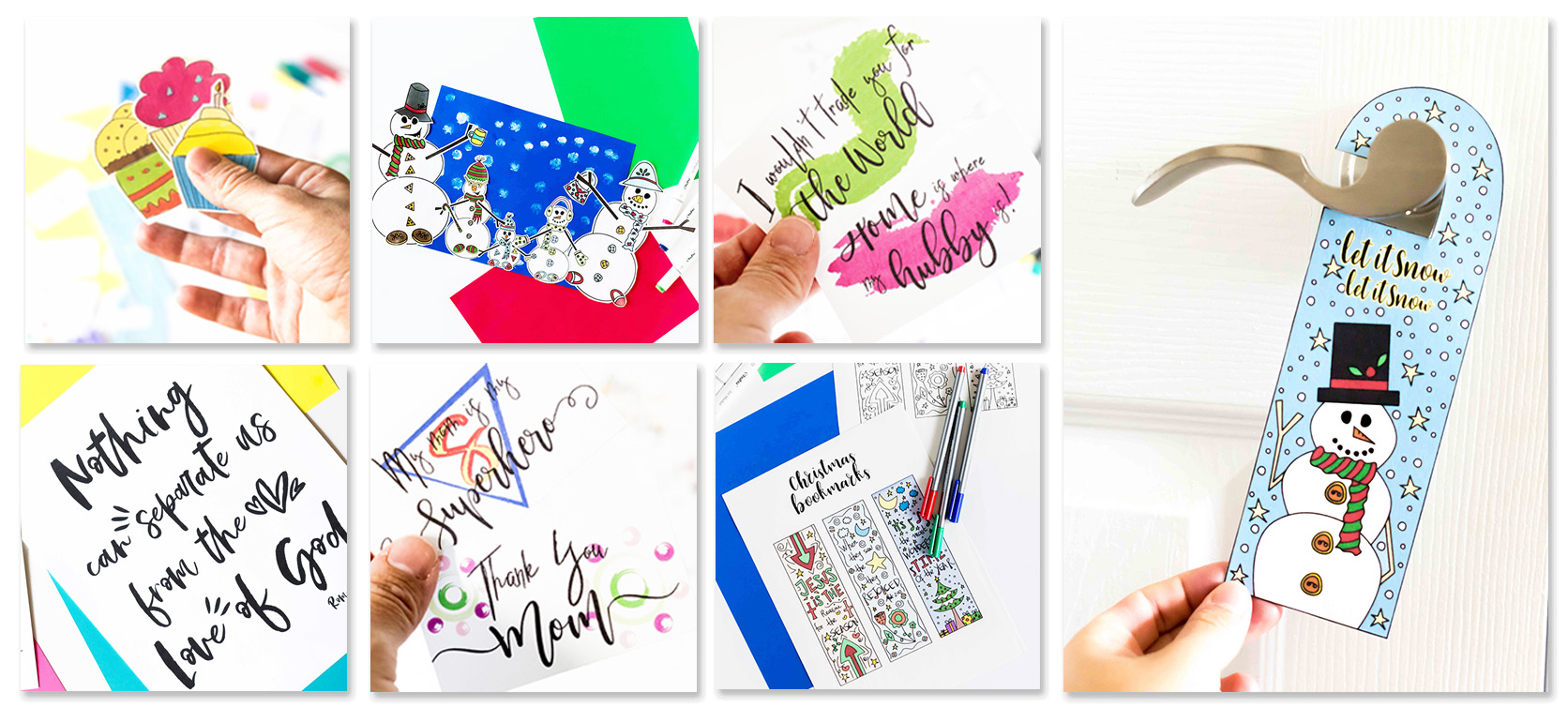 Inside of the seasonal printables library example. Different thumbnails with colors and activities for children, family, etc