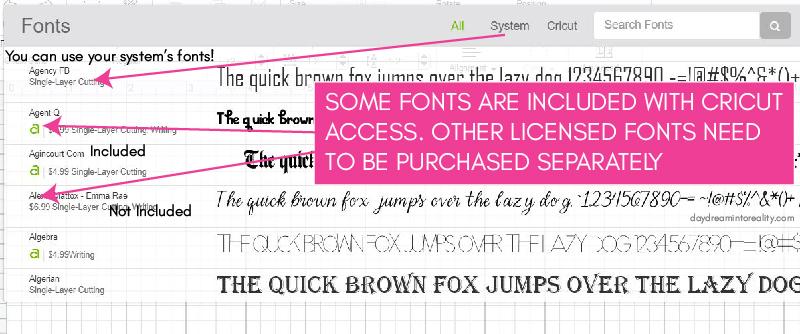 Cricut Fonts Screenshot and Explanation