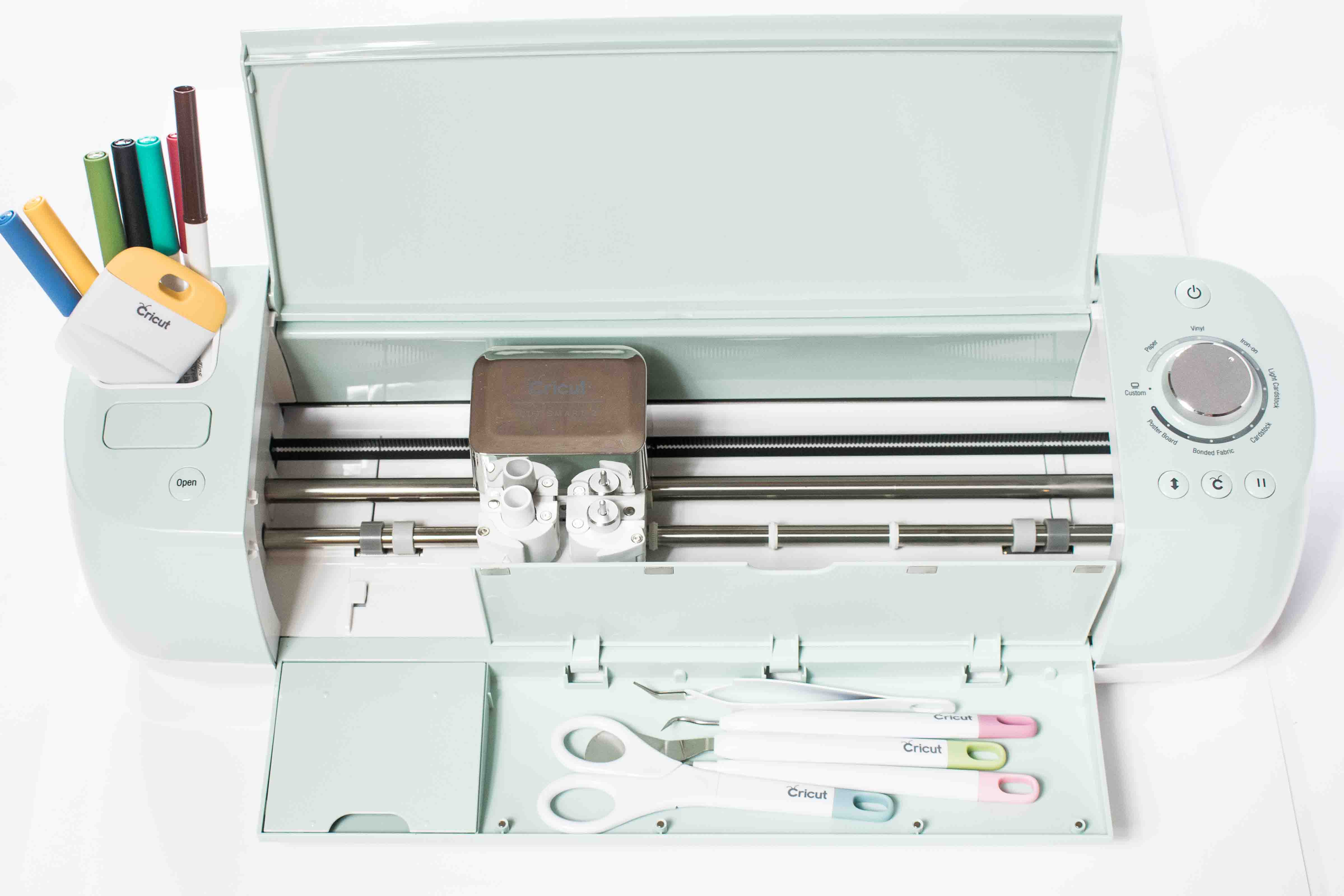 Cricut Explore Air 2 Open Displaying Tools and Markers