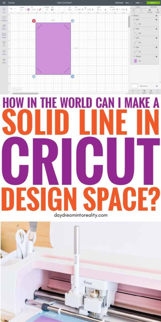 Pinterest Image for adding a solid line to Cricut Design Space.