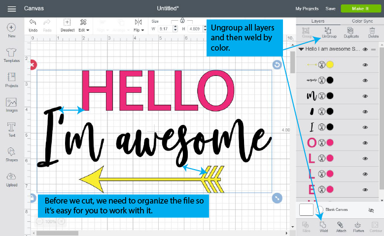 """Original """"Hello I'm awesome SVG"""" on the Canvas Area"""