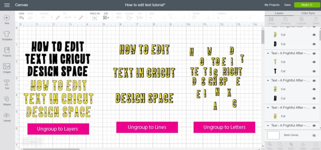 Screenshot of of how ungroup to layers, lines and letters works in Cricut Design Space