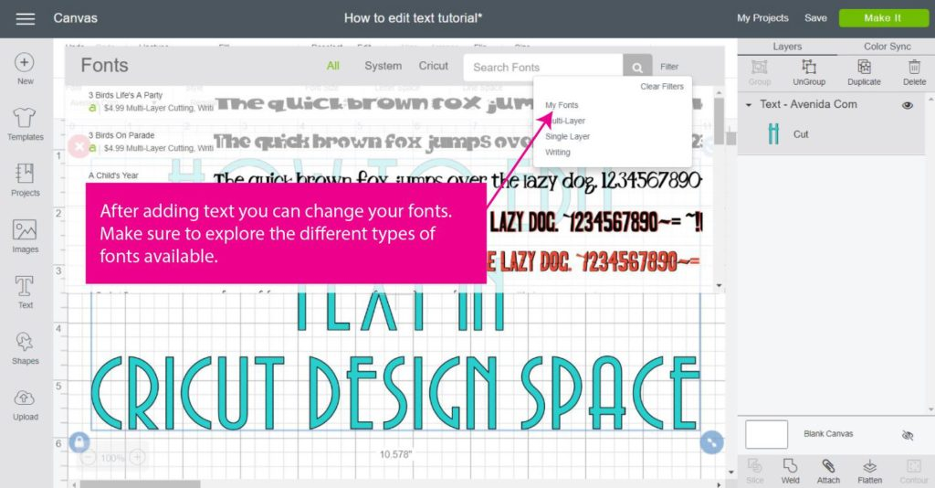 Screenshot of choosing different types of fonts in Cricut Design Space