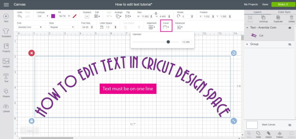 Screenshot of how to curve a line of text in Cricut Design Space