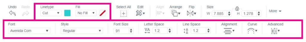 Screenshot of editing text menu in Design Space