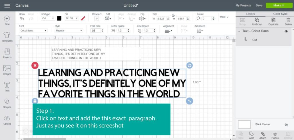 Tutorial Screenshot of step 1 - add text in Cricut Design Space