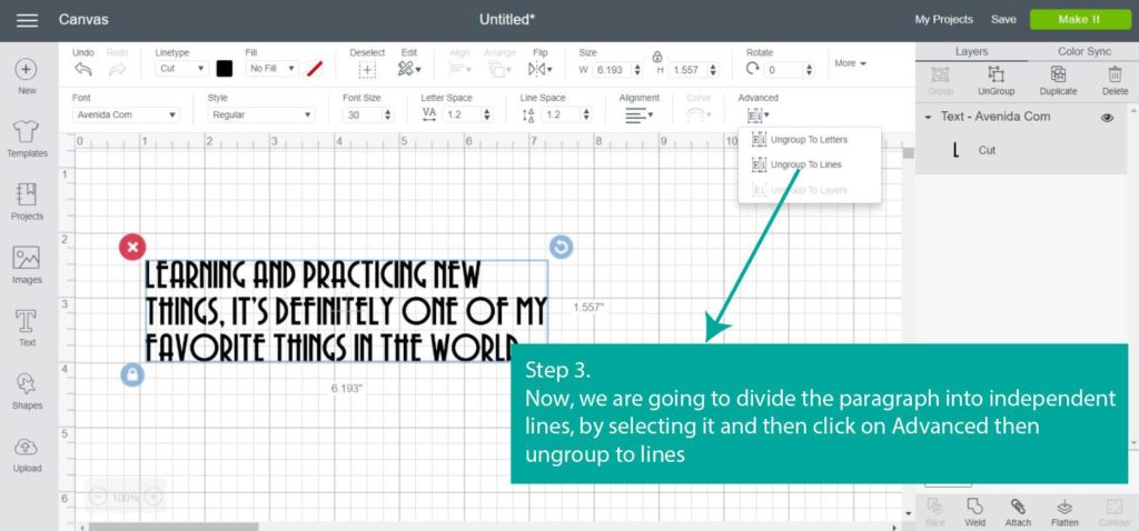 Tutorial Screenshot of - Step 3 Ungroup to lines  - in Cricut Design Space