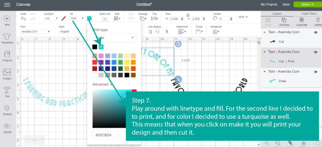 Tutorial Screenshot of  Step 7 - Let's play with Linetype & Fill / Linetype: Cut - Fill: Print, Print type: color / in Cricut Design Space