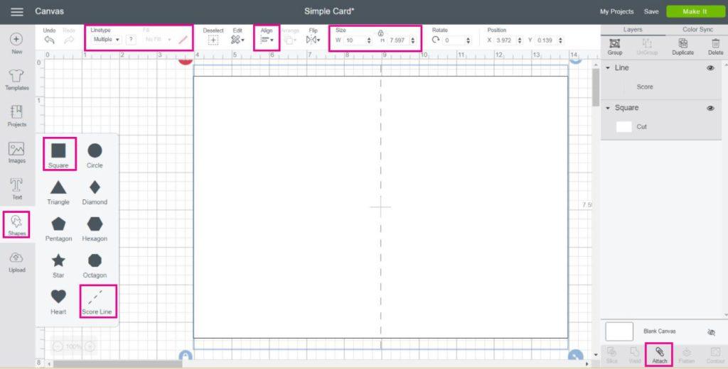 Screenshot of making a simple card in Cricut Design Space