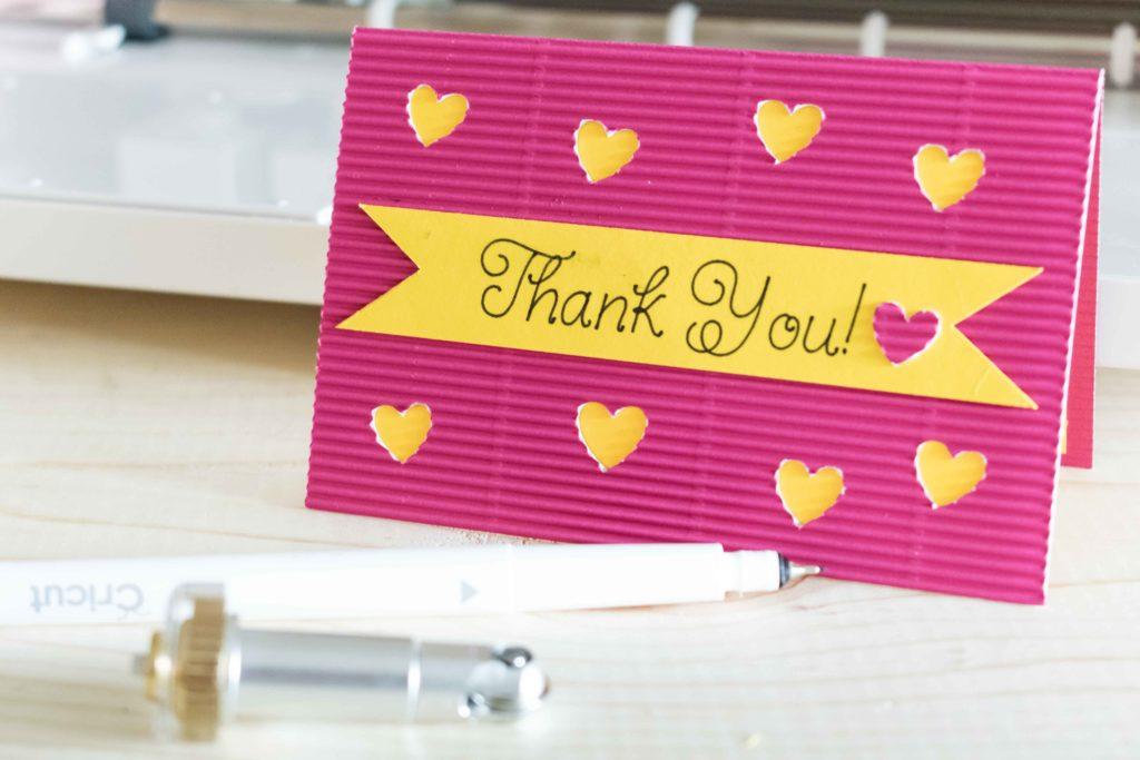 Thank Card along with the Cricut Pen and Scoring wheel