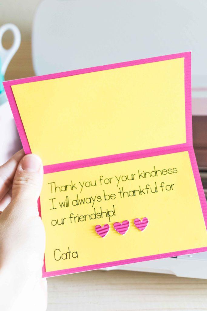 Cricut Pens inside greeting card