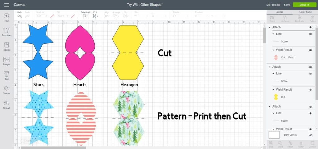 Screenshot of different shapes to use to make a card and also use patterns