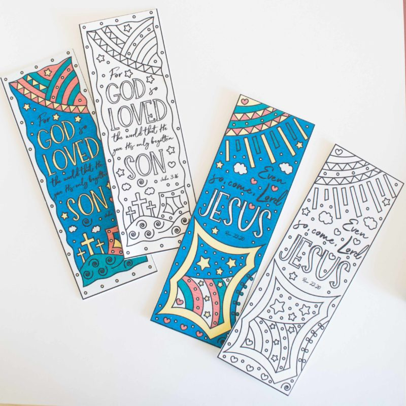 Free Printable Coloring Easter Bookmarks (Also in color)