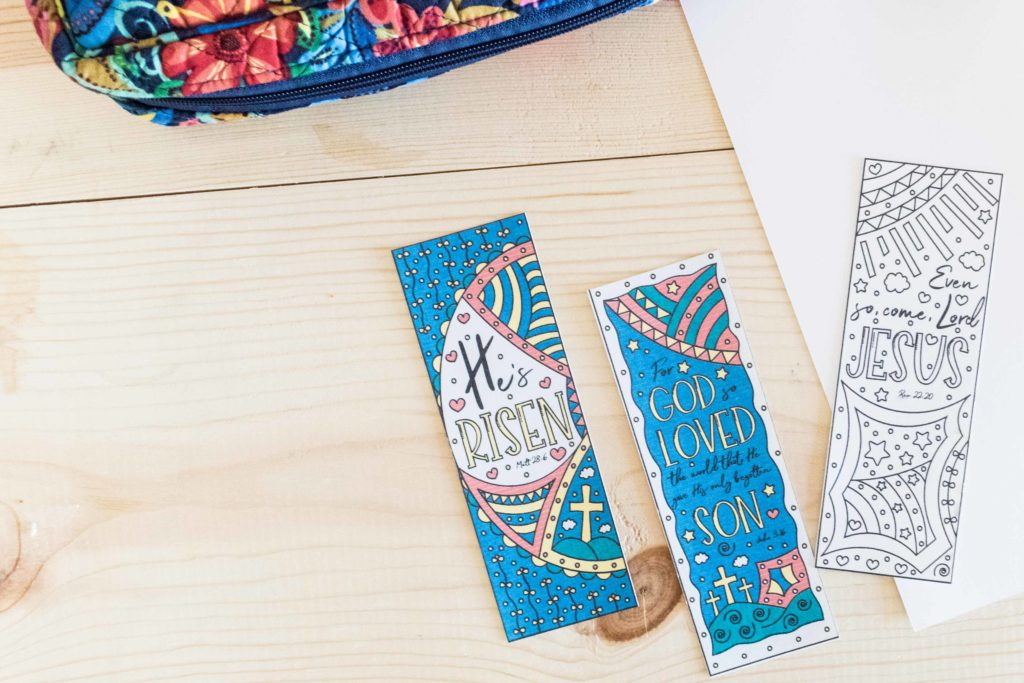 Coloring and Color Easter Bookmarks.