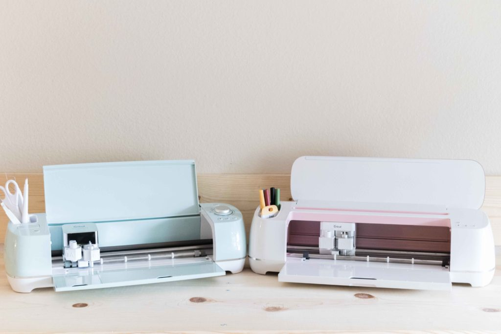 Cricut Explore Air 2 and Cricut Maker side by side