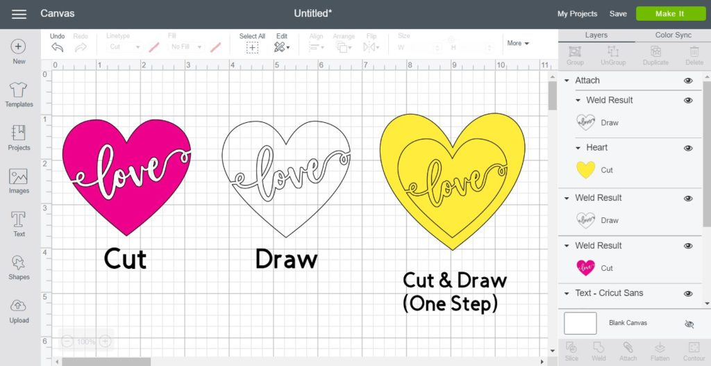 Screenshot showing how to Cut, Draw and Cut & Draw in one step in Cricut Design Space