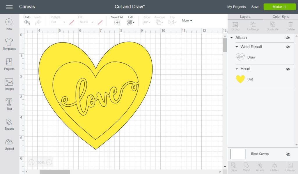 Screenshot of Writing and cutting in one step Cricut Design Space
