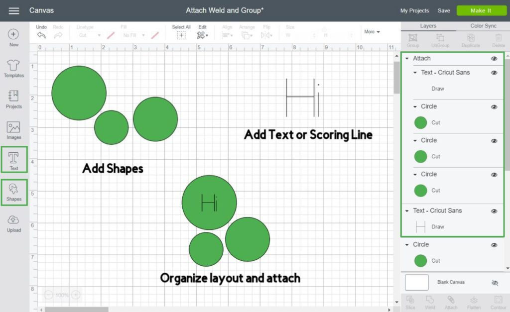 step by step on how to use attach in Cricut Design Space