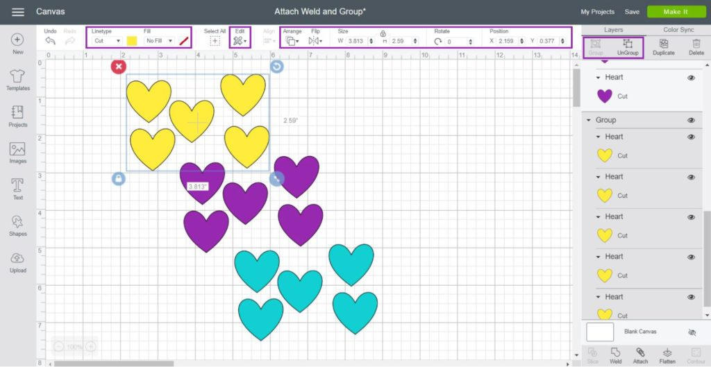 step by step on how to use group in Cricut Design Space