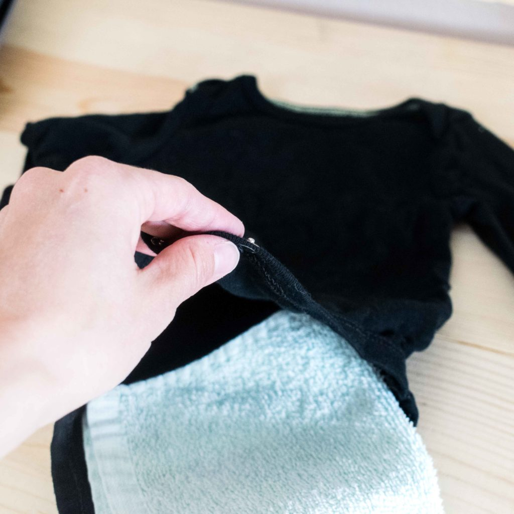 Towel Placement in a onesie before Iron On transfer