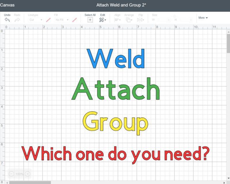What Do Weld, Attach, & Group mean on Cricut - Screenshot