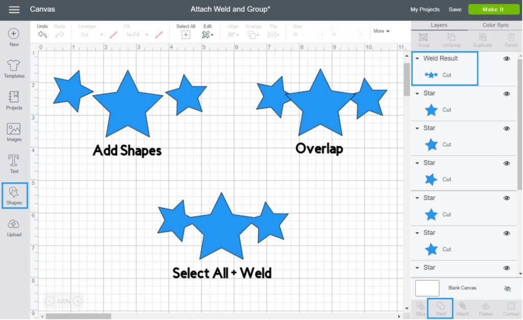 step by step on how to use weld in Cricut Design Space
