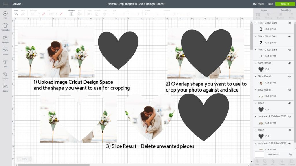 Screenshot of how to Crop Images inside Cricut Design Space with the Slice tool.