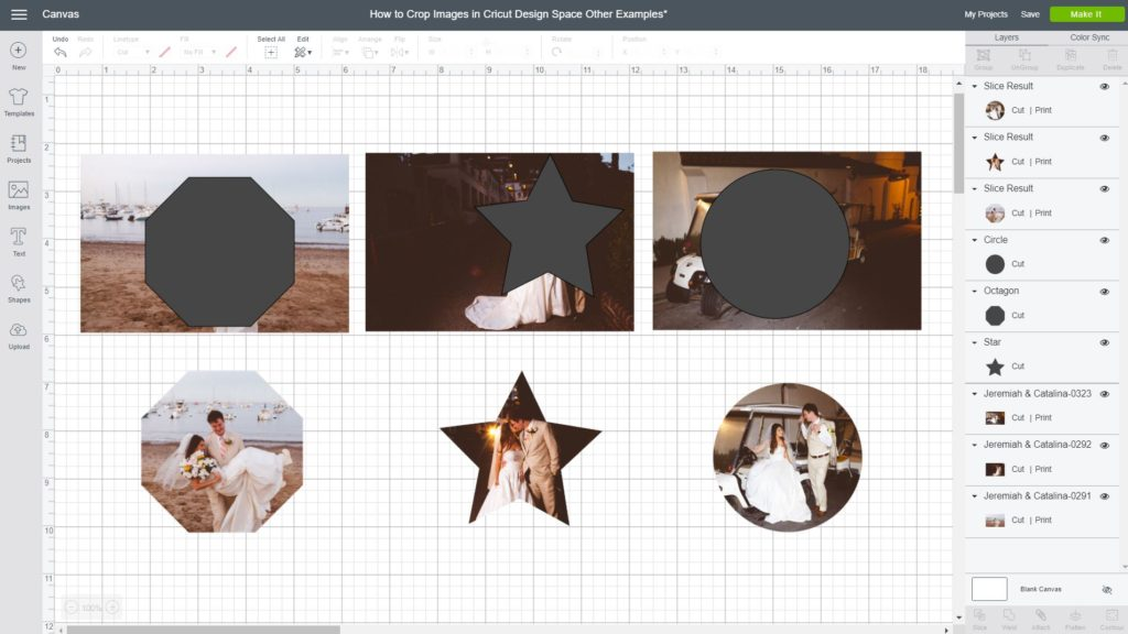 Screenshot of different ways and styles to Crop Images inside Cricut Design Space with the Slice tool.