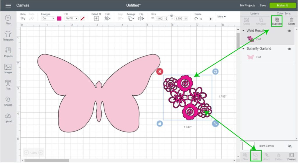 Screenshot - Duplicate flower and weld with previews layer