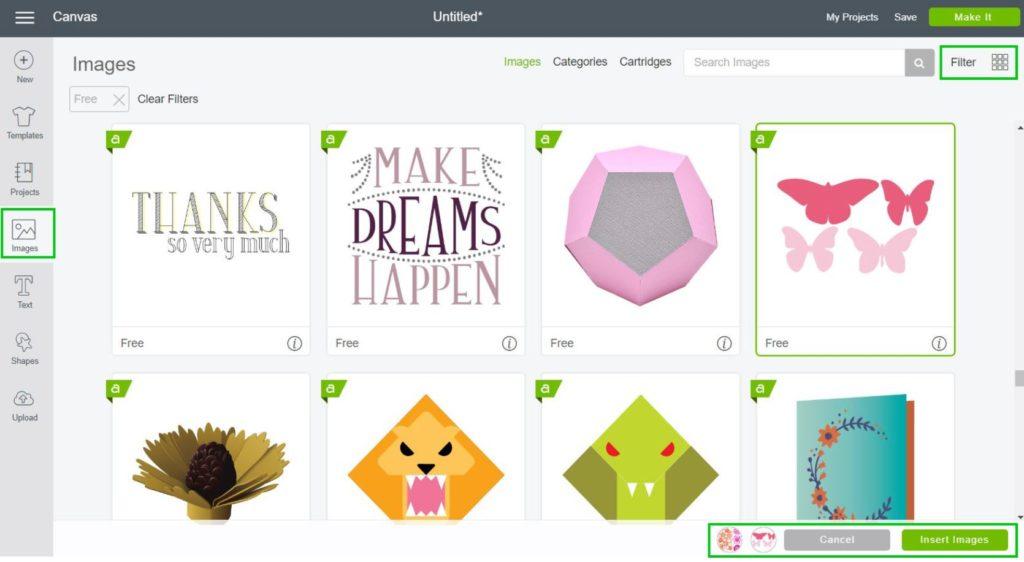 Screenshot - Insert Images in Cricut Design Space