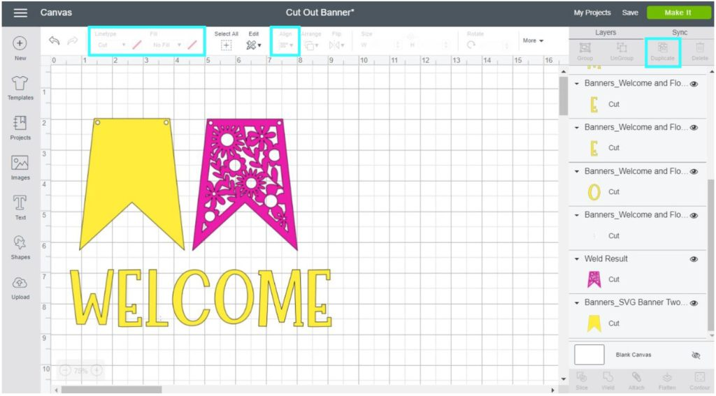 Screenshot Cricut Design Space: Change banner colors and resize it