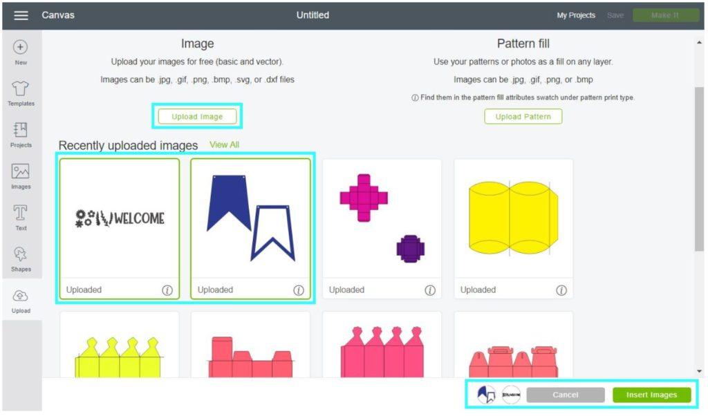 Screenshot Cricut Design Space: Upload banner template to Cricut Design Space