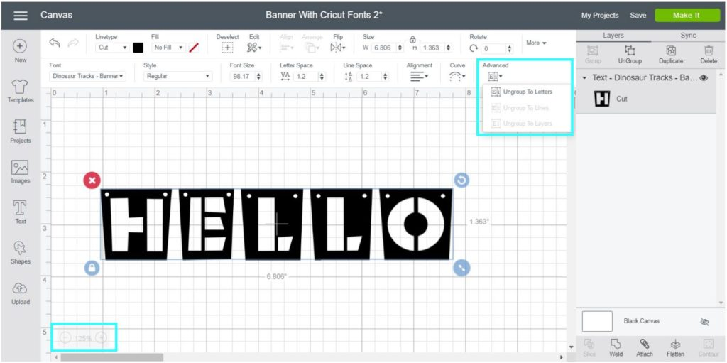 """Screenshot Cricut Design Space:  Separate font in lines to edit each banner """"letter""""."""