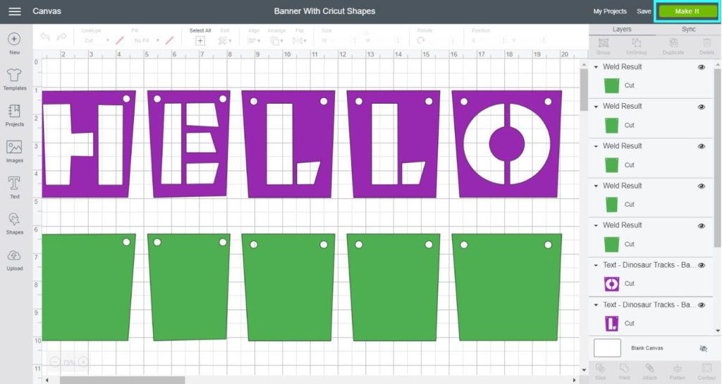 Screenshot Cricut Design Space:  change banner color and resize before you make it