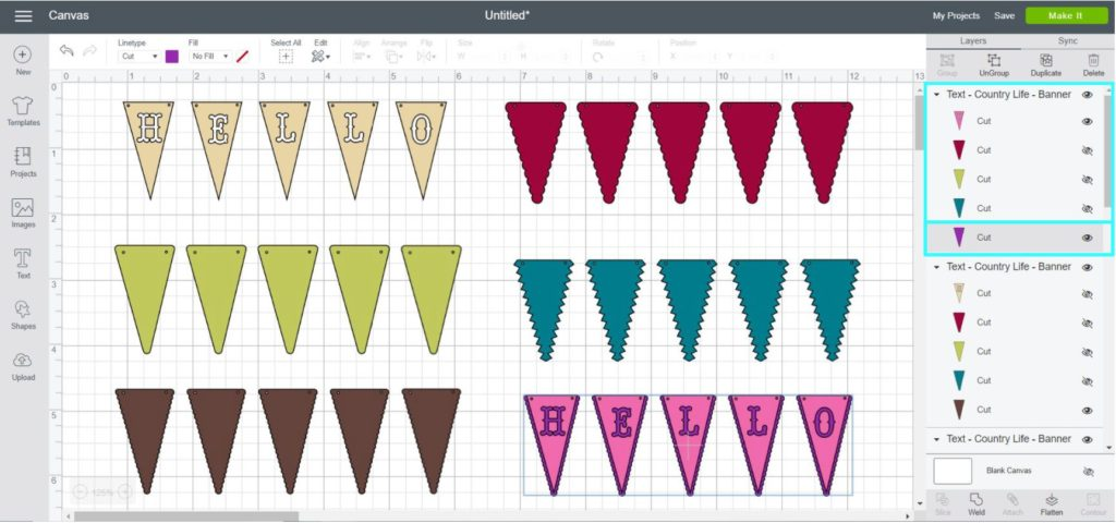 Screenshot Cricut Design Space:  taking a closer look of the font Country Life - Banner