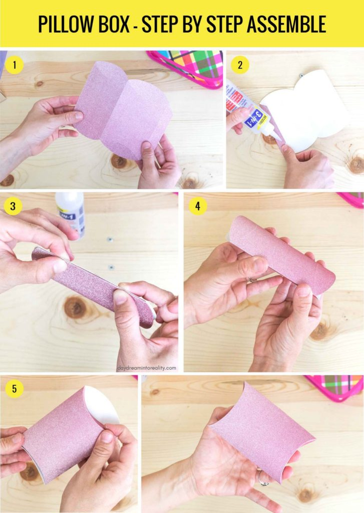 Pillow Box - Step by Step Assemble info-graphic