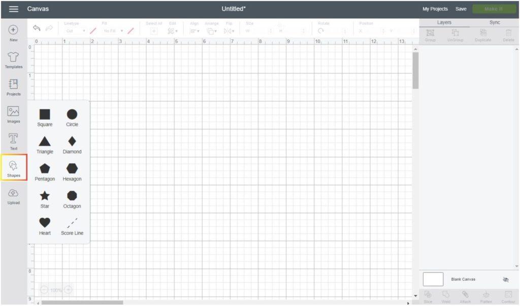 Screenshot Cricut Design Space: where is the shape option located