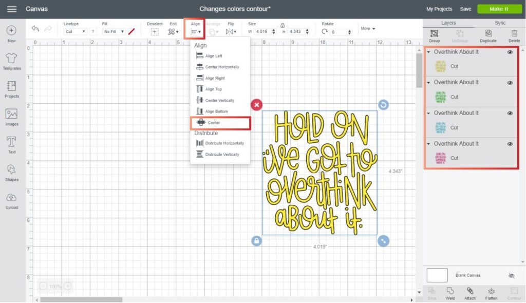 Using align center in Cricut Design Space to change colors with the contour tool