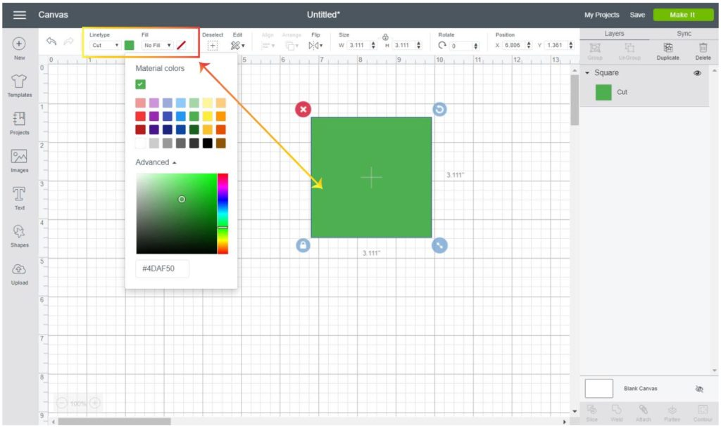 Screenshot Cricut Design Space:  Change the color of a shape
