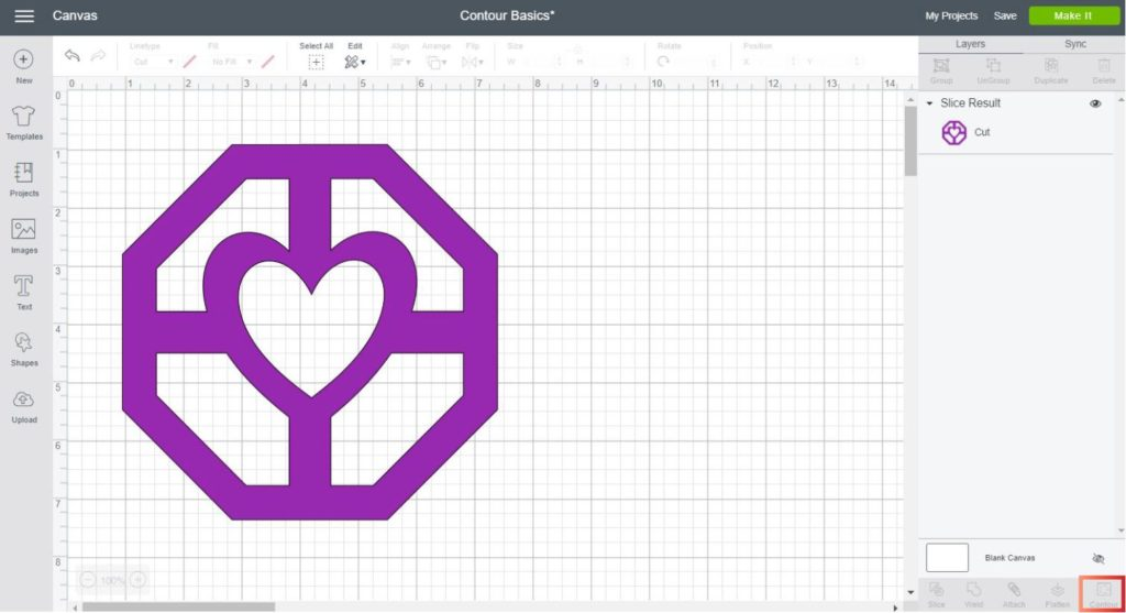 Screenshot of an image and where the contour tool is located in Cricut Design Space