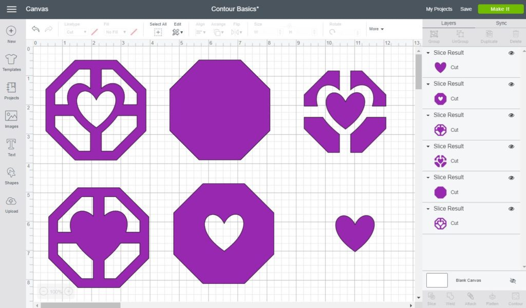 Examples of the different things you can accomplish with the contour tools in Cricut design space